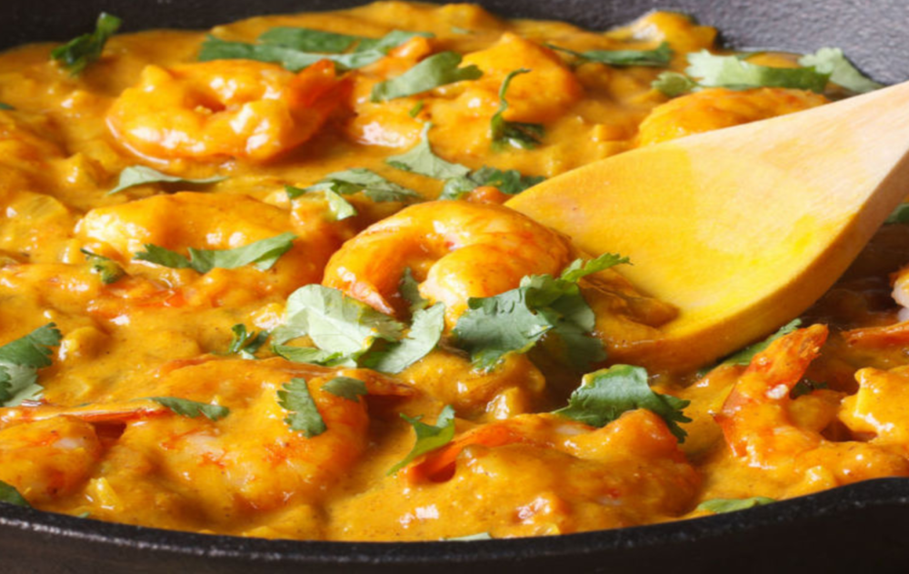 Des crevettes au curry